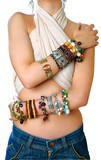 girl with bracelets poster