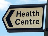 health centre sign. access to health centre poster