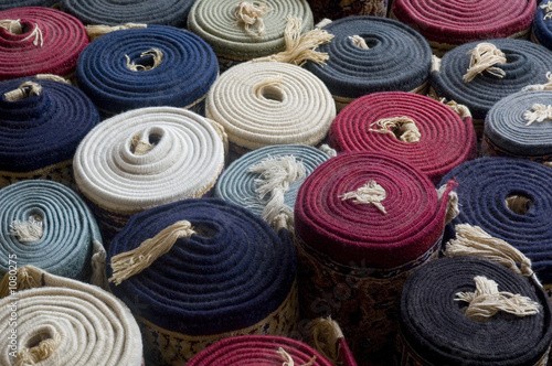 rolled up turkish carpets