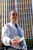 businessman offer money poster