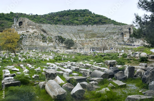 great theater with ephesian ruins