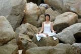 meditation, ananda yoga on the rock poster