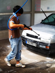 washing the car