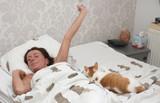 woman wake up poster