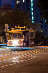 san francisco cable car at night
