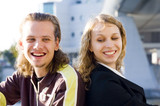 young couple smiling poster