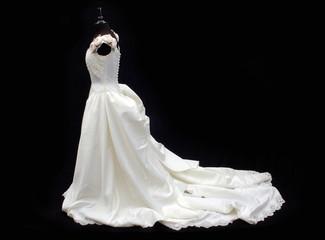 white wedding dress on black