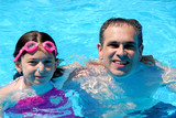 father daughter pool poster