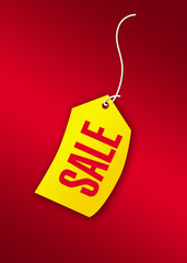 sale tag in red and yellow