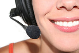 woman with headset poster