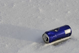 beer can on snowy ground. poster