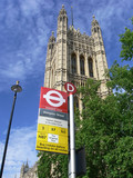 westminster bus stop in london poster