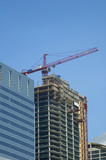 crane in operation in downtown chicago poster