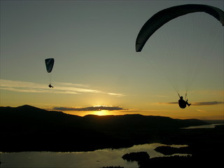 paragliders and sunset from walla crag keswick