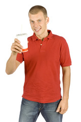 man with cola