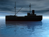cargo ship at dusk poster