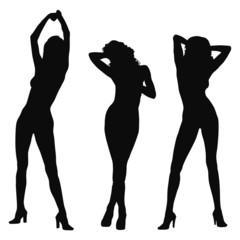 three model silhouette