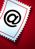 email symbol on a postage stamp poster