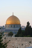 the dome of the rock at sunset poster