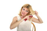 woman curling hair 1 poster