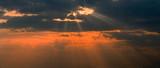 dramatic sunset rays poster