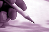 hand with pen poster