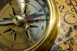 old style gold compass & globe closeup poster