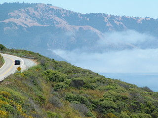 driving through pacific coast clouds