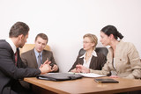 business meeting of 4 persons poster