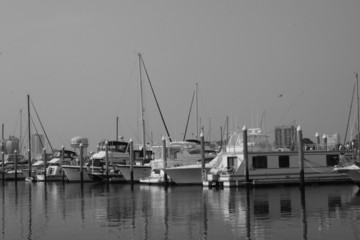 black and white boat on the water