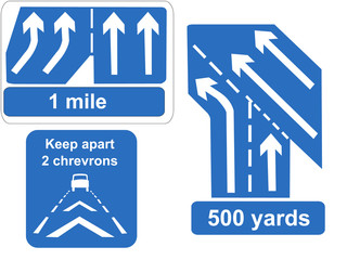 motorway lanes merging and keep your distance sign