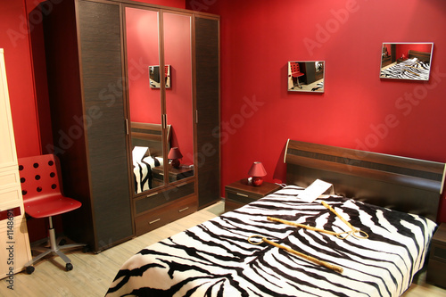 stripe red bedroom