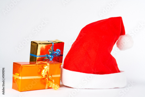 christmas hat and two gifts