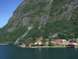 town by the fjord in norway poster