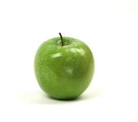 single apple on white