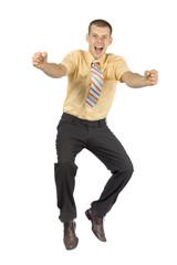 happy jumping  businessman