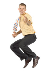jumping and pointing businessman