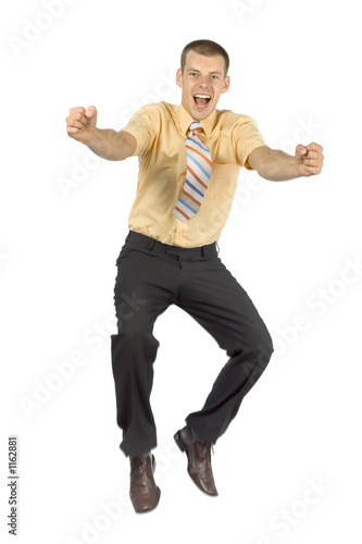 happy jumping  businessman