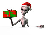 christmas alien with edge of blank sign poster