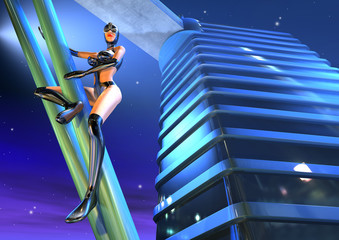female character in black perched on a building