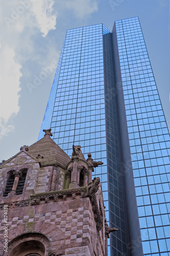 hancock tower with trinity church