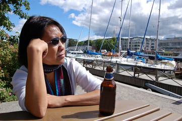 thai woman in marina