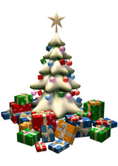 big christmas fir tree with presents and a star