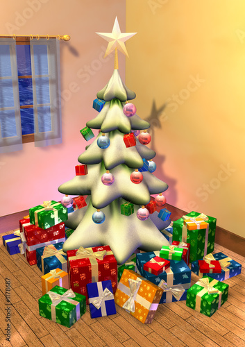 big fir tree with star and presents in a room