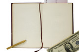 old blank book with pencil, check and dollar poster
