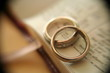 gold wedding rings on bible - 1183244