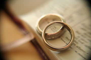 gold wedding rings on bible