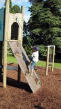 child/boy climbing frame/wooden structure.playing. poster