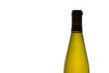 unlabeled wine bottle against white background poster