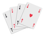 four aces over white poster